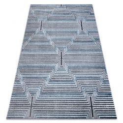 Tapis Structural SIERRA G5018 tissé à plat bleu - bandes, diamants