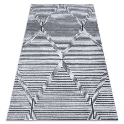 Carpet Structural SIERRA G5018 Flat woven grey - stripes, diamonds