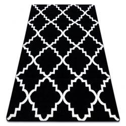 Tapis SKETCH - F343 noir et blanc trèfle marocain trellis