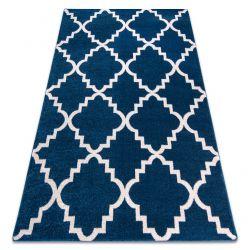 Tapis SKETCH - F343 bleu et blanc trèfle marocain trellis
