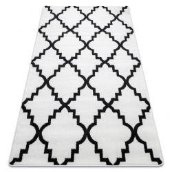 Covor Sketch - F343 alb și negru marocani Trellis