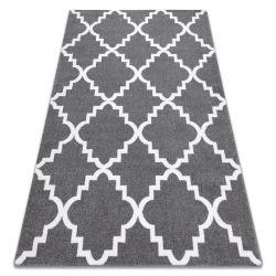 Tapis SKETCH - F343 gris et blanc trèfle marocain trellis