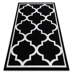 Koberec SKETCH - F730 vzor Marocký jetel, Mříž černo bílý