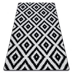 Tapete SKETCH - F998 branco/preto - Quadrados Ruta