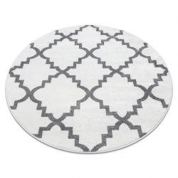 Covor Sketch rotund - F343 alb și gri marocani Trellis