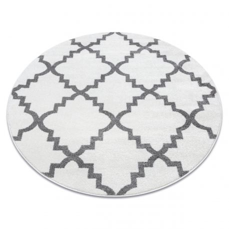 Dywan SKETCH koło - F343 krem/szara koniczyna marokańska trellis