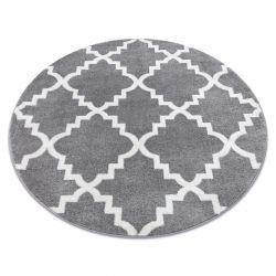 Alfombra SKETCH círculo - F343 Enrejado Trébol marroquí gris/blanco