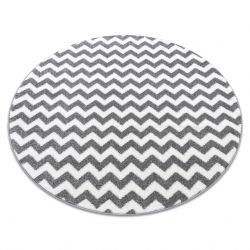Килим SKETCH кръг – F561 бяло/сиво – зигзаг