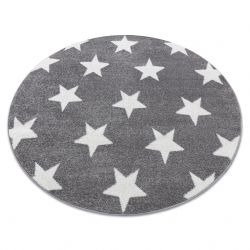 Okrúhly koberec SKETCH - FA68 sivá, biela - hviezdy