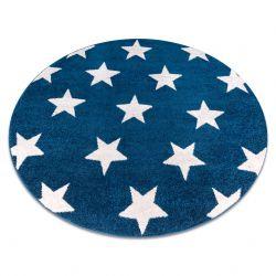 Okrúhly koberec SKETCH - FA68 Marocká ďatelina,Mreža, modro biela - hviezdy