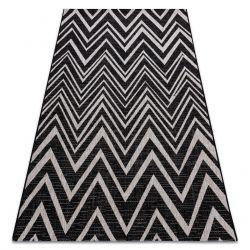 TAPIS EN CORDE SIZAL FLOORLUX 20308 Zigzag noir / argent / beige