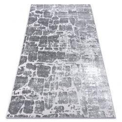 Modern MEFE Teppich 6184 Pflasterung Backstein - Strukturell zwei Ebenen aus Vlies dunkelgrau