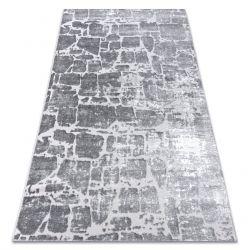 Moderní MEFE koberec 6184 Dlažba cihlový - Strukturální, dvě úrovně rouna tmavošedý
