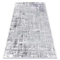 Tapete MEFE moderno 8722 Linhas vintage - Structural dois níveis de lã cinza cinzento / branco
