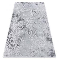 Tapete MEFE moderno 8724 Ornamento vintage - Structural dois níveis de lã cinza cinzento