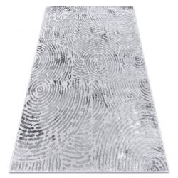 Tapis MEFE moderne 8725 cercles Empreinte digitale - Structural deux niveaux de molleton gris