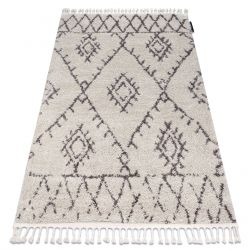 Covor Berber Fez G0535 cremă si maro Franjuri shaggy pletos