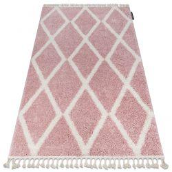 Tapete BERBER TROIK A0010 cor de rosa/branco Franjas berbere marroquino shaggy