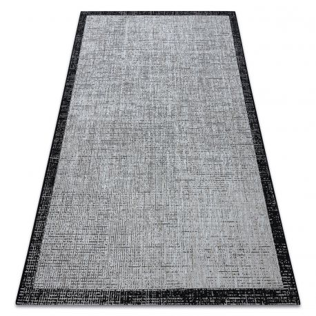 Covor sisal Floorlux 20401 Cadru argintiu si negru