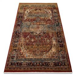 Teppich Wolle KESHAN Franse, Ornament orientalisch 7518/53528 beige / dunkelblau