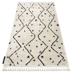 Koberec TETUAN B751, krémová - strapce, vzor cik cak, Maroko, Shaggy