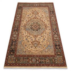Carpet Wool KESHAN fringe, Rosette oriental 7519/53555 beige / navy