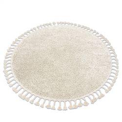 Tapis BERBER 9000 cercle crème Franges berbère marocain shaggy