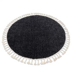 Tapis BERBER 9000 cercle gris Franges berbère marocain shaggy