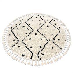 Okrúhly koberec BERBER TETUAN B751, krémová - strapce, vzor cik cak, Maroko, Shaggy