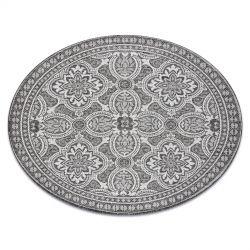 Fonott sizal szőnyeg LOFT 21193 Kör boho elefántcsont/ezüst/szürke