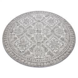 Fonott sizal szőnyeg LOFT 21193 Kör boho elefántcsont/ezüst/taupe