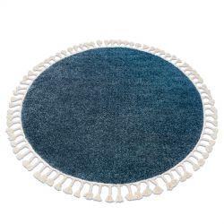 Kulatý koberec BERBER 9000, modrý-střapce, Maroko, Shaggy