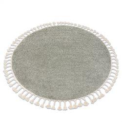 Kulatý koberec BERBER 9000, zelený-střapce, Maroko, Shaggy