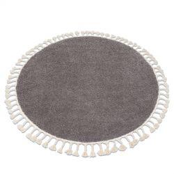 Kulatý koberec BERBER 9000, hnědý - střapce, Maroko, Shaggy