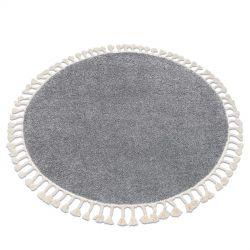 Kulatý koberec BERBER 9000 šedý - střapce, Maroko, Shaggy