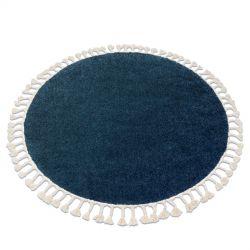 Kulatý koberec BERBER 9000, tmavě-modrý - střapce, Maroko, Shaggy