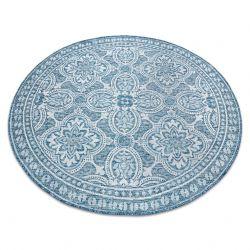 Килим SIZAL LOFT 21193 кръг БОХО слонова кост/сребро/син