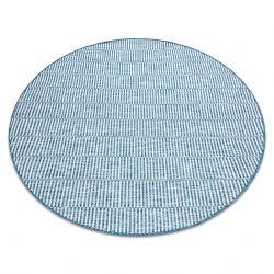 Fonott sizal szőnyeg LOFT 21198 Kör boho elefántcsont/ezüst/kék
