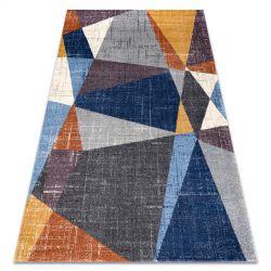 Carpet SOFT 6162 GEOMETRIC, TRIANGLES grey / blue / cooper