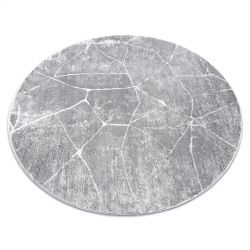 модерен MEFE килим кръг 2783 мрамор - structural две нива на руно сив