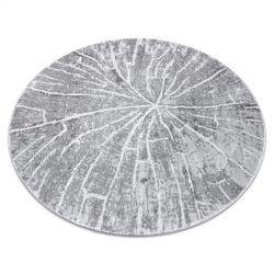 модерен MEFE килим кръг 2784 Дърво - structural две нива на руно сив