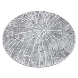 Moderní MEFE koberec kulatý 2784 Pařez stromu - Strukturální, dvě úrovně rouna šedá