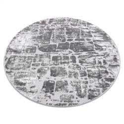 Moderní MEFE koberec kulatý 6184 Dlažba cihlový - Strukturální, dvě úrovně rouna tmavošedý