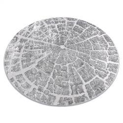 Moderní MEFE koberec kulatý 6185 Pařez stromu - Strukturální, dvě úrovně rouna šedá