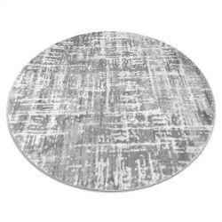 модерен MEFE килим кръг 8722 линии vintage - structural две нива на руно сив / бял