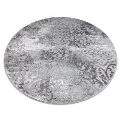 Moderní MEFE koberec kulatý 8724 Ornament vintage - Strukturální, dvě úrovně rouna šedá