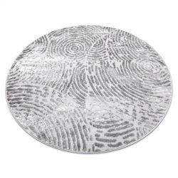 модерен MEFE килим кръг 8725 кръгове пръстови отпечатъци - structural две нива на руно сив
