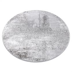 модерен MEFE килим кръг 8731 Vintage - structural две нива на руно сив