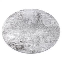 Moderní MEFE koberec kulatý 8731 Vintage - Strukturální, dvě úrovně rouna šedá