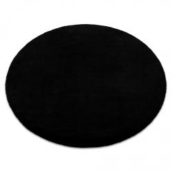 Kulatý koberec BUNNY černý, imitace králíčí kožešiny